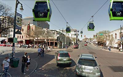 Frog Design's renderings of what a cable car system in downtown Austin could look like by Frog Design.